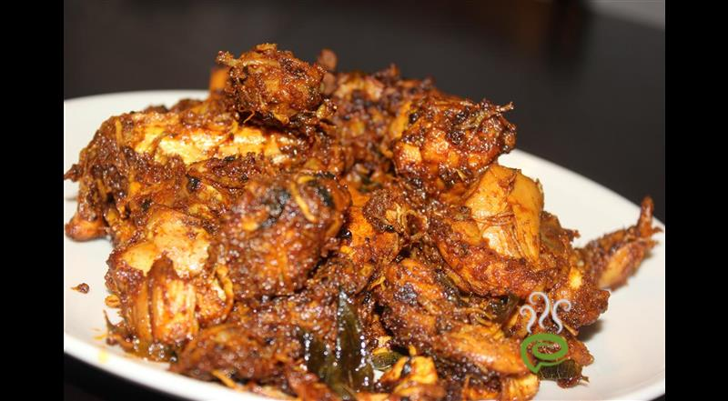Chicken Curry(Dry) Garnished W- Spicy Onions | Pachakam