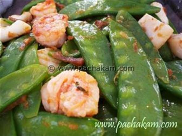 Prawns Stir Fried With Snow Peas | Pachakam